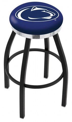 Penn State Nittany Lions Black Swivel Barstool with Chrome Accent Ring