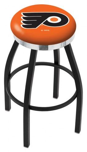 Philadelphia Flyers NHL Black Swivel Barstool with Chrome Accent Ring