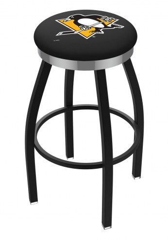 Pittsburgh Penguins Black Swivel Barstool with Chrome Accent Ring