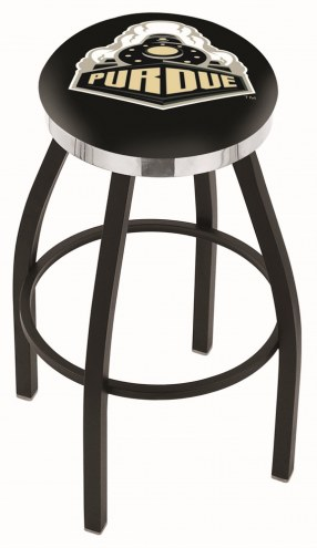 Purdue Boilermakers Black Swivel Barstool with Chrome Accent Ring