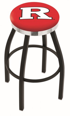 Rutgers Scarlet Knights Black Swivel Barstool with Chrome Accent Ring