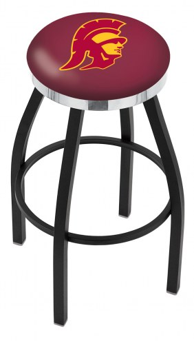 USC Trojans Black Swivel Barstool with Chrome Accent Ring