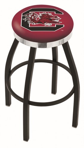 South Carolina Gamecocks Black Swivel Barstool with Chrome Accent Ring