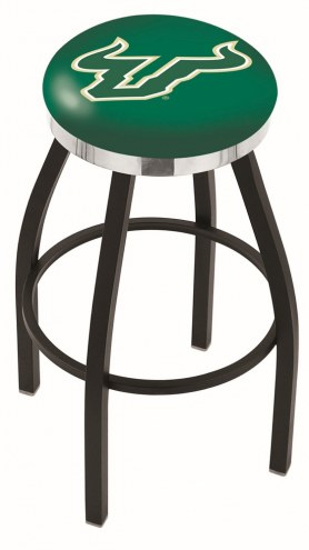 South Florida Bulls Black Swivel Barstool with Chrome Accent Ring
