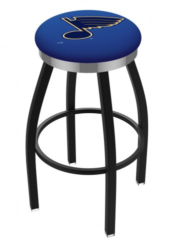St. Louis Blues Black Swivel Barstool with Chrome Accent Ring