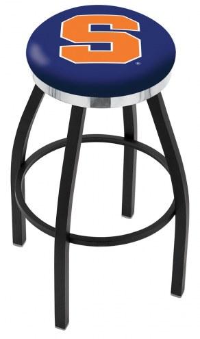 Syracuse Orange Black Swivel Barstool with Chrome Accent Ring