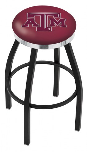 Texas A&M Aggies Black Swivel Barstool with Chrome Accent Ring