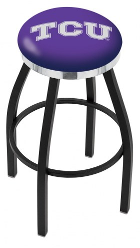 Texas Christian Horned Frogs Black Swivel Barstool with Chrome Accent Ring
