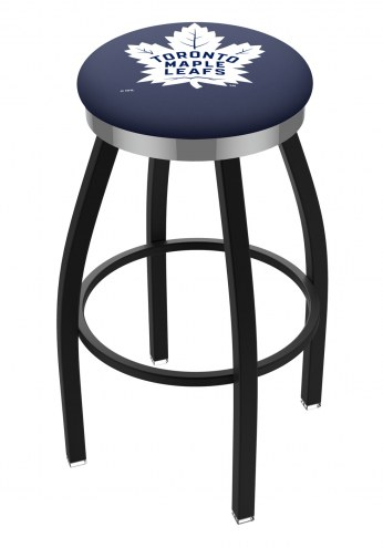 Toronto Maple Leafs Black Swivel Barstool with Chrome Accent Ring
