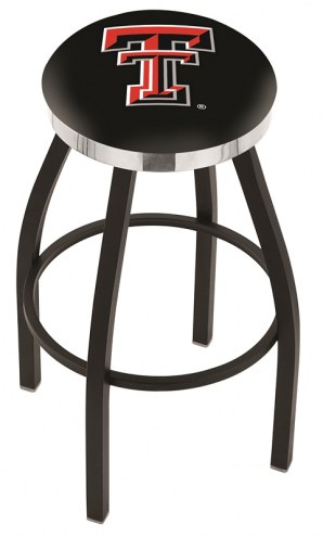 Texas Tech Red Raiders Black Swivel Barstool with Chrome Accent Ring