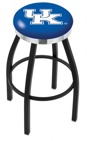 Kentucky Wildcats NCAA Black Swivel Barstool with Chrome Accent Ring