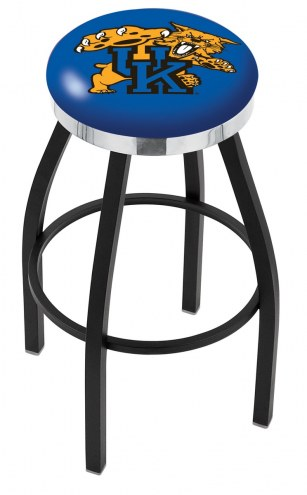 Kentucky Wildcats Black Swivel Barstool with Chrome Accent Ring