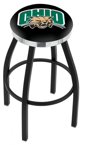 Ohio Bobcats Black Swivel Barstool with Chrome Accent Ring