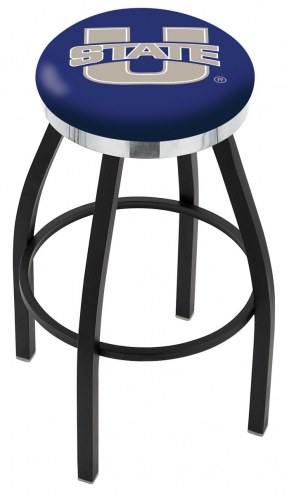 Utah State Aggies Black Swivel Barstool with Chrome Accent Ring