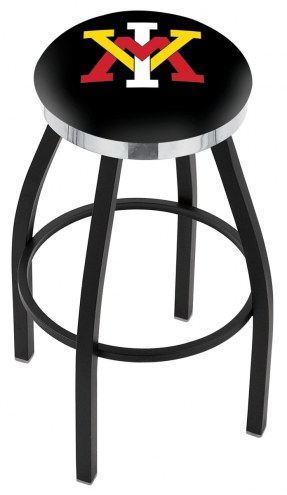 Virginia Military Institute Keydets Black Swivel Barstool with Chrome Accent Ring