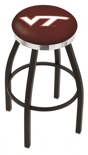 Virginia Tech Hokies Black Swivel Barstool with Chrome Accent Ring