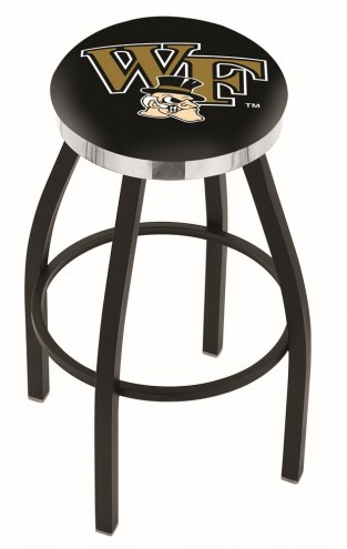 Wake Forest Demon Deacons Black Swivel Barstool with Chrome Accent Ring