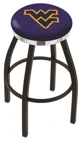 West Virginia Mountaineers Black Swivel Barstool with Chrome Accent Ring
