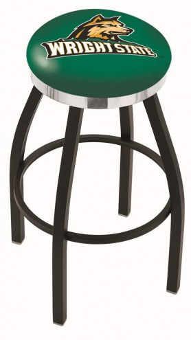 Wright State Raiders Black Swivel Barstool with Chrome Accent Ring