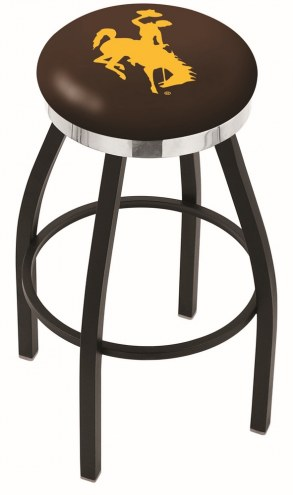 Wyoming Cowboys Black Swivel Barstool with Chrome Accent Ring