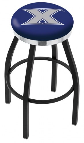 Xavier Musketeers Black Swivel Barstool with Chrome Accent Ring