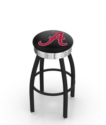 "Alabama Crimson Tide ""A"" Black Swivel Barstool with Chrome Ribbed Ring"