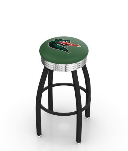 UAB Blazers Black Swivel Barstool with Chrome Ribbed Ring