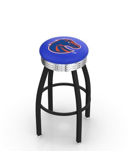 Boise State Broncos Black Swivel Barstool with Chrome Ribbed Ring