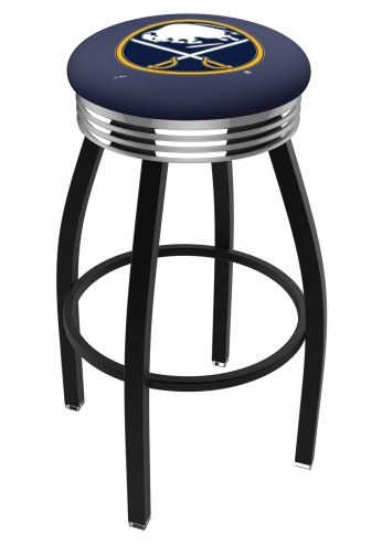 Buffalo Sabres Black Swivel Barstool with Chrome Ribbed Ring