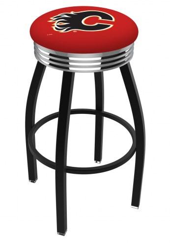 Calgary Flames Black Swivel Barstool with Chrome Ribbed Ring