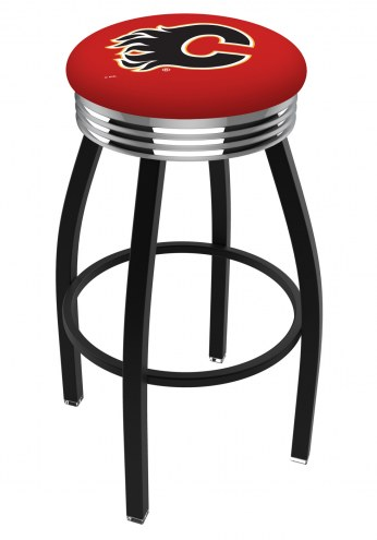 Calgary Flames Black Swivel Barstool with Chrome Ribbed Ring