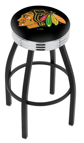 Chicago Blackhawks Black Swivel Barstool with Chrome Ribbed Ring