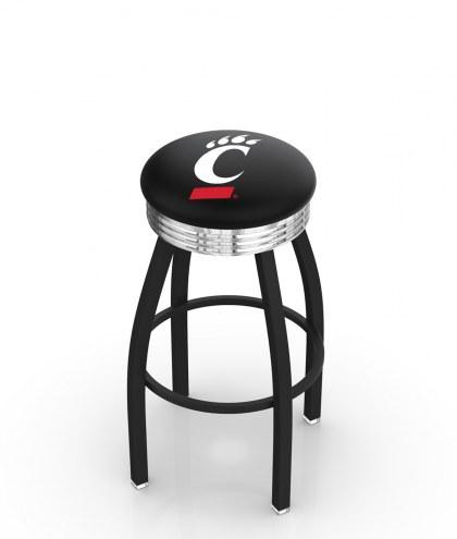 Cincinnati Bearcats Black Swivel Barstool with Chrome Ribbed Ring