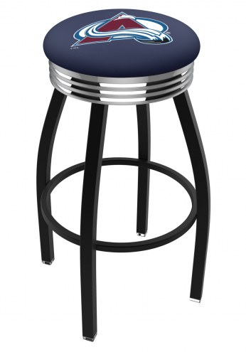 Colorado Avalanche Black Swivel Barstool with Chrome Ribbed Ring