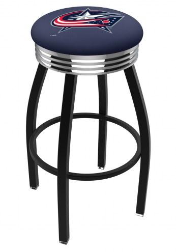 Columbus Blue Jackets Black Swivel Barstool with Chrome Ribbed Ring
