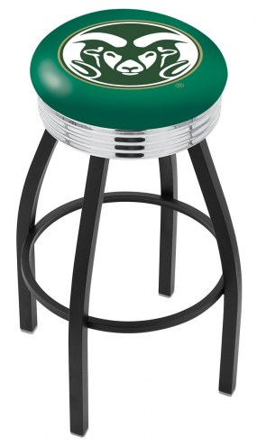 Colorado State Rams Black Swivel Barstool with Chrome Ribbed Ring