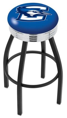 Creighton Bluejays Black Swivel Barstool with Chrome Ribbed Ring