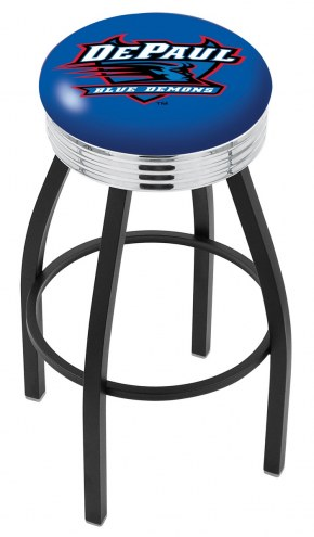 DePaul Blue Demons Black Swivel Barstool with Chrome Ribbed Ring