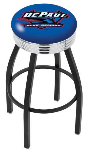 DePaul Blue Demons Black Swivel Barstool with Chrome Ribbed Ring