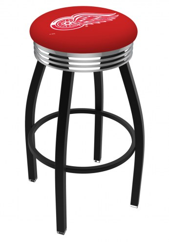 Detroit Red Wings Black Swivel Barstool with Chrome Ribbed Ring