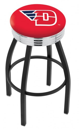 Dayton Flyers Black Swivel Barstool with Chrome Ribbed Ring