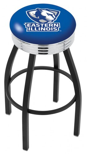 Eastern Illinois Panthers Black Swivel Barstool with Chrome Ribbed Ring