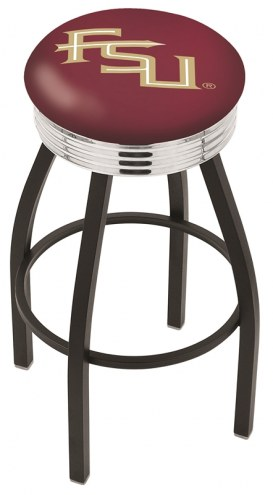 Florida State Seminoles Black Swivel Barstool with Chrome Ribbed Ring