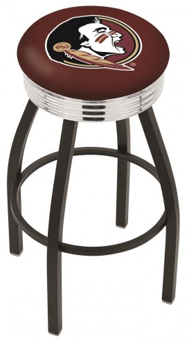 FSU Seminoles Black Swivel Barstool with Chrome Ribbed Ring