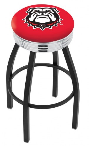 Georgia Bulldogs Black Swivel Barstool with Chrome Ribbed Ring