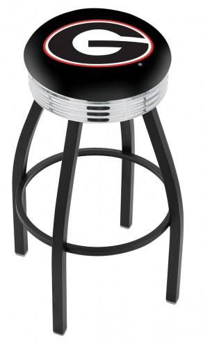 Georgia Bulldogs NCAA Black Swivel Barstool with Chrome Ribbed Ring