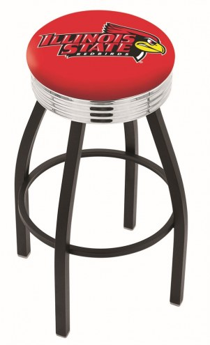 Illinois State Redbirds Black Swivel Barstool with Chrome Ribbed Ring