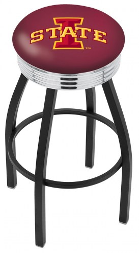 Iowa State Cyclones Black Swivel Barstool with Chrome Ribbed Ring