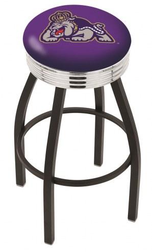 James Madison Dukes Black Swivel Barstool with Chrome Ribbed Ring