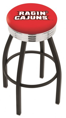 Louisiana Lafayette Ragin' Cajuns Black Swivel Barstool with Chrome Ribbed Ring